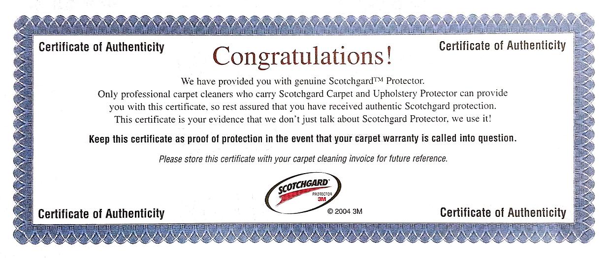 Scotchgard Protector Certificate