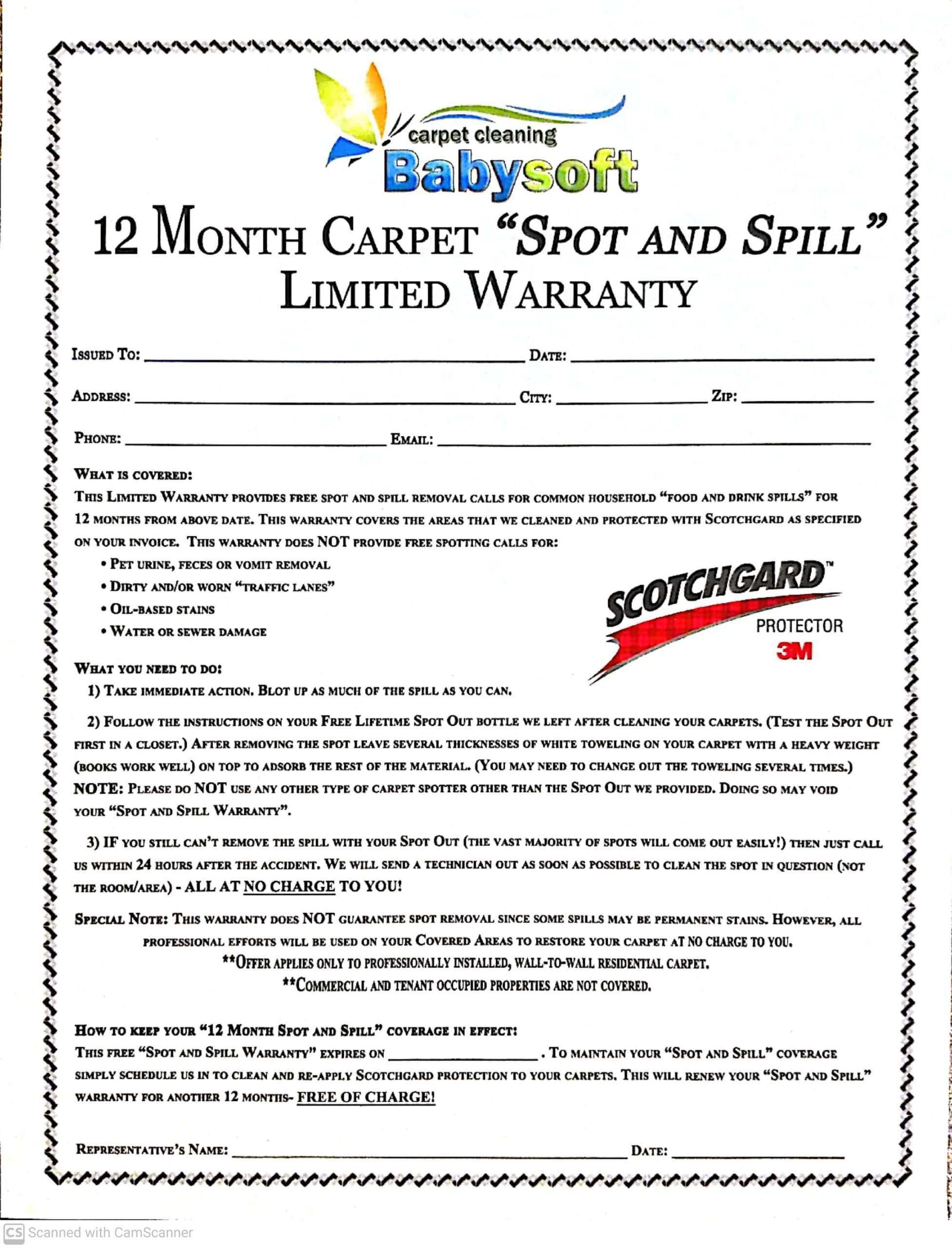 Scotchgard Spot and Spill Warranty